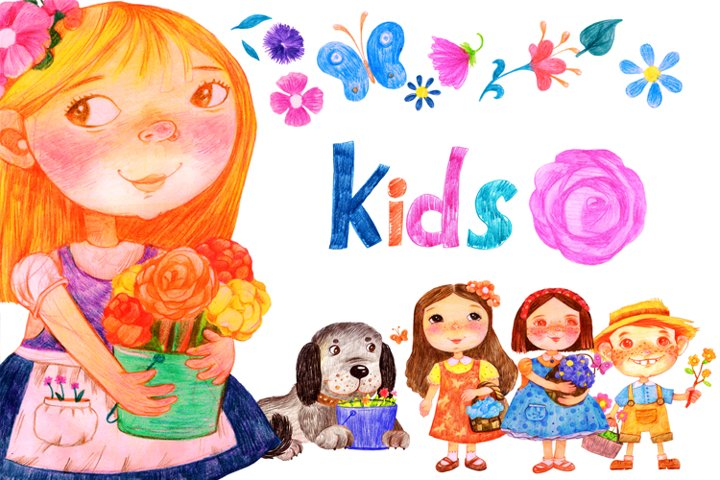 Kids. Girls. Flowers. set. PNG&PSD