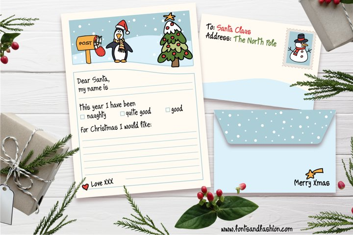 Santa Claus, Xmas tree and penguin Doodle letter template