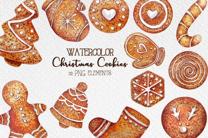 Watercolor Christmas gingerbread, Christmas cookies clipart