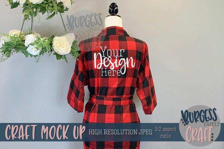 Red and black buffalo check robe  Craft mock up