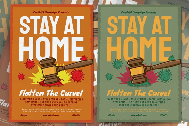 Stay At Home Covid-19 Campaign Flyer