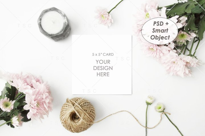 5 x 5 Card Mockup / Invitation Card / Save the date Card