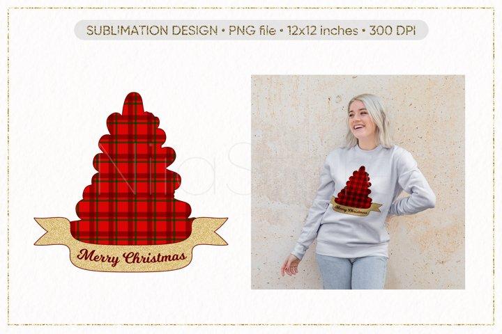 Merry Christmas Sublimation, Christmas Tree PNG