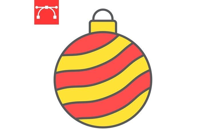 Christmas tree ball color line icon