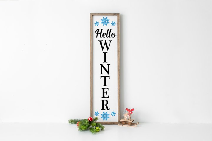 Christmas Front Porch Welcome Sign - Hello Winter