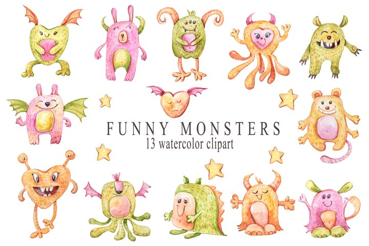 Watercolor monsters clipart. Alien collection