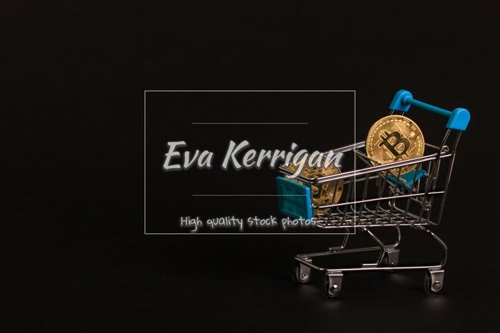 Gold bitcoin coins sparkle in a supermarket trolley.