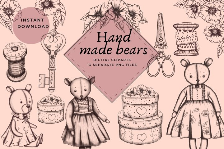 teddy bears cliparts,hand made master cliparts,sewing png