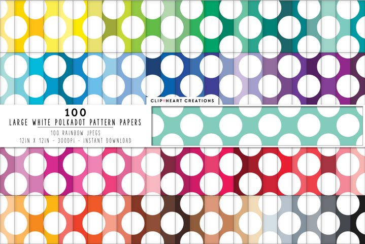 100 White Polka dot Pattern Digital Papers - rainbow colors