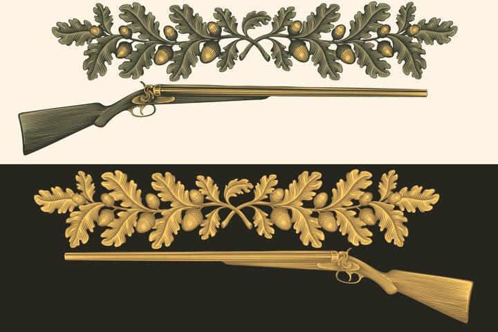 Hunting rifle. Hand drawn illustration. Vector engraving.