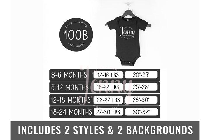 Bella Canvas 100B Bodysuit Size Chart Mockup