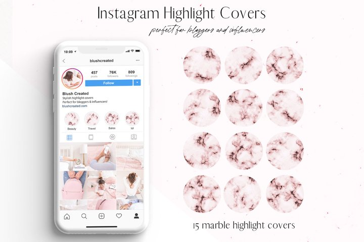 Pink Marble Instagram Highlight Covers