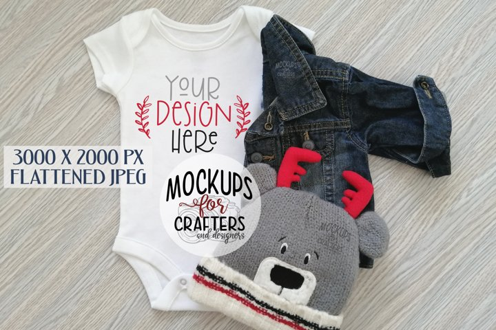 Baby outfit mock-up, jean jacket, cute winter hat