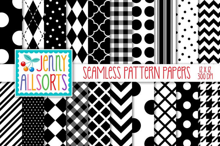 Black & White Seamless Digital Repeat Geometric Patterns