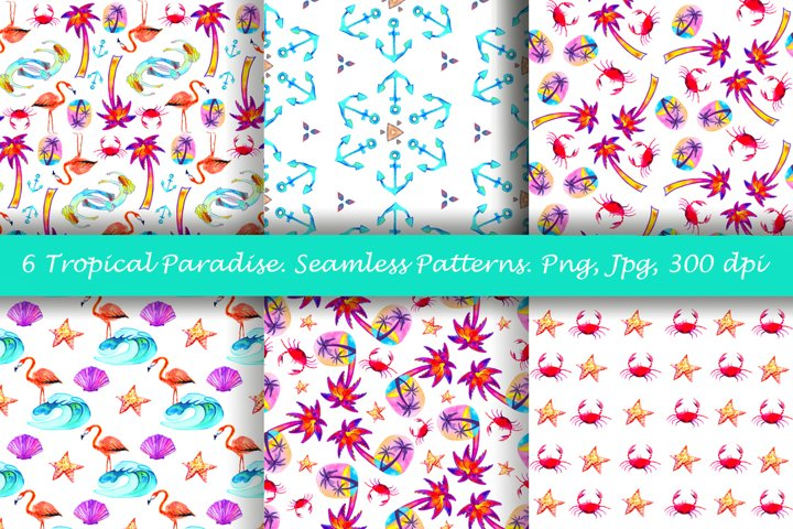 Tropical patterns. Seamless patterns. Png, jpg