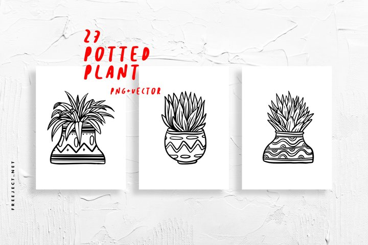 27 Vintage Potted Plant Stock Vector
