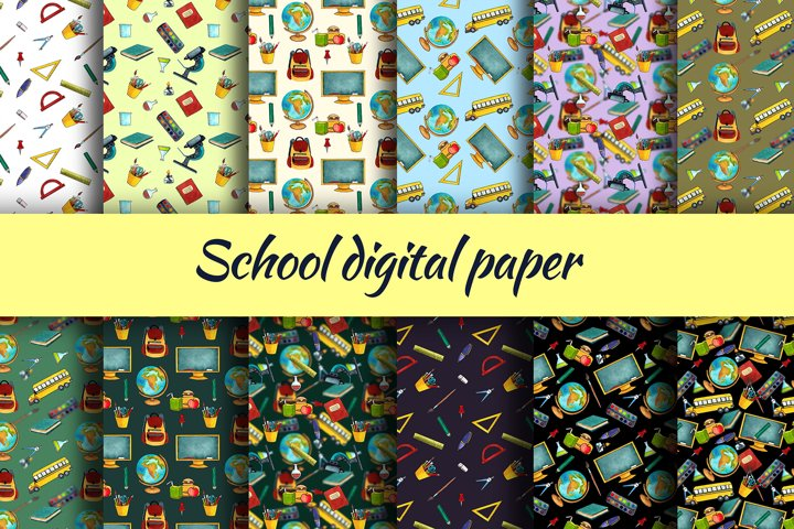 School digital paper. watercolor clipart