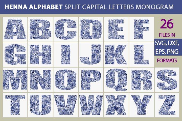 Henna Alphabet. Floral Monogram a-z letters