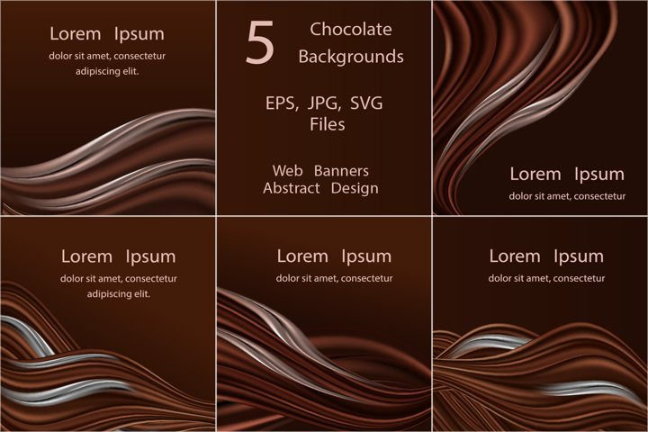 5 Chocolate banner backgrounds. Chocolate and cream waves