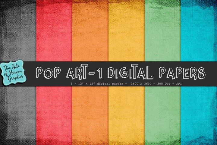 Textured Digital Scrapbook Papers - Pop Art 1