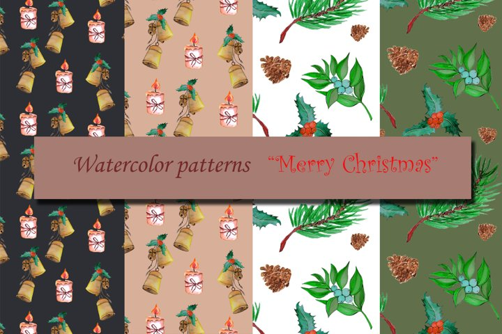 Watercolor set Merry Christmas