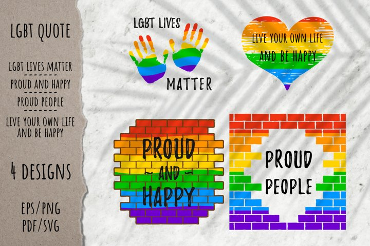 LGBT pride rainbow quotes | Colorful brickwall |EPS PNG PDF