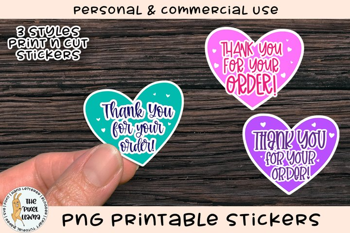 Thank You For Your Order PNG Printable Stickers