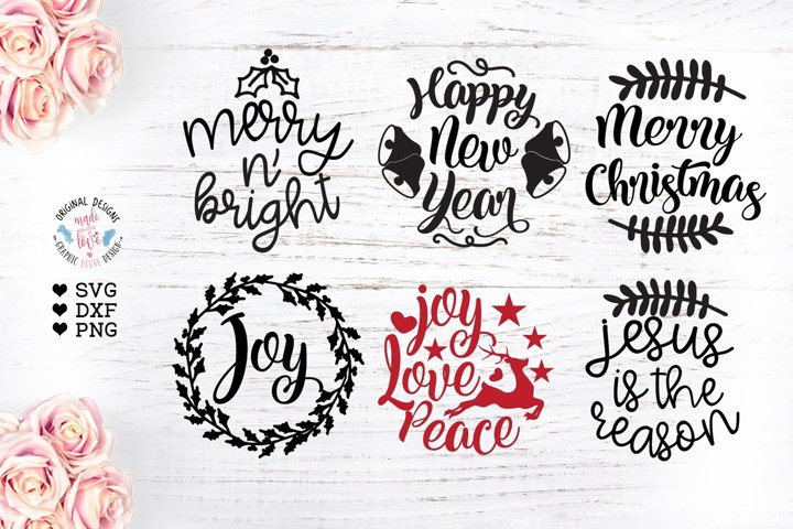 6 Round Christmas Ornaments Cut Files