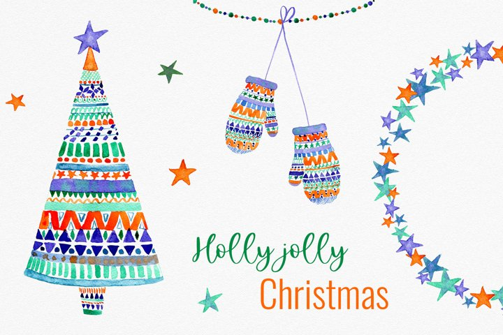 Holly jolly Christmas cliparts