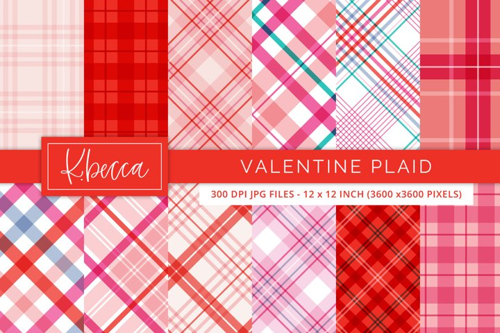Red & Pink Valentine Plaid Background Patterns Seamless