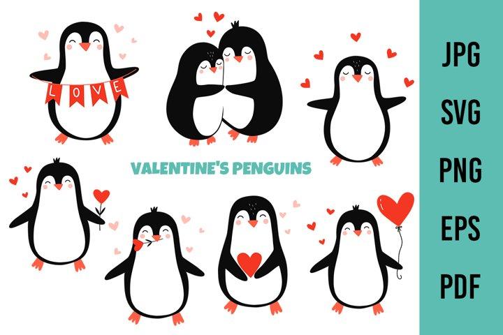 Valentines Penguins SVG. Penguin valentine bundle, love svg