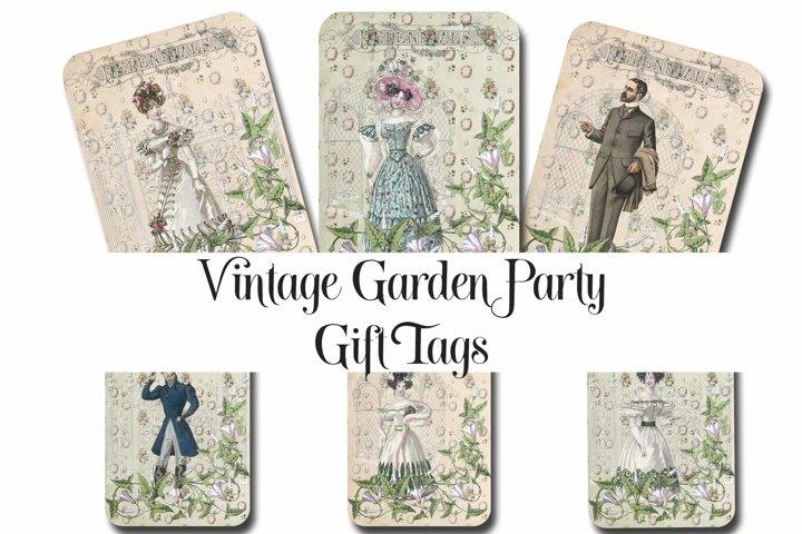 Vintage Garden Party Printable Tags - ATC cards