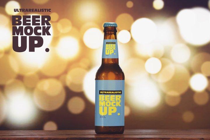 Blurred Lights Beer Mockup