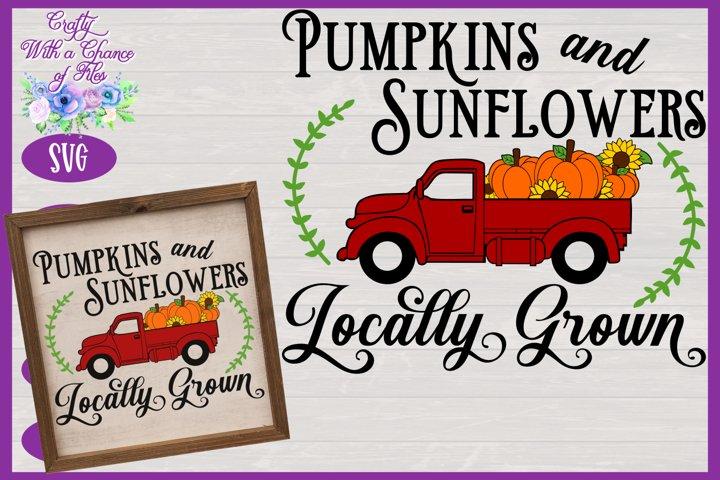 Pumpkins & Sunflowers Locally Grown SVG | Fall Truck SVG