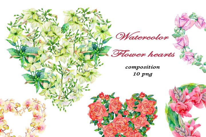 Flower hearts. Watercolor clipart collection.