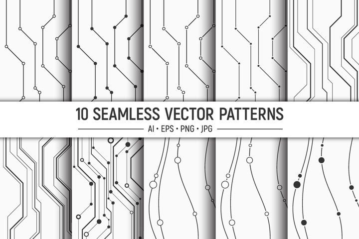 10 seamless geometric vector lines patterns