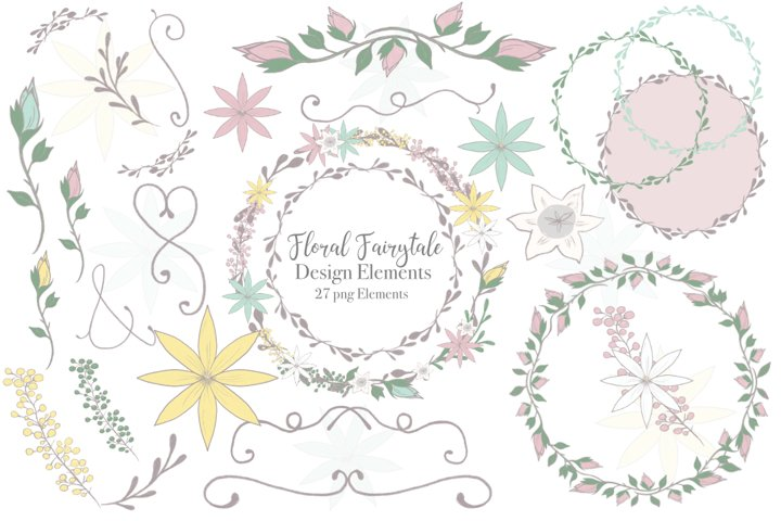 Floral Wreath Clipart, Flourishes, Flower Frame, Flourishes