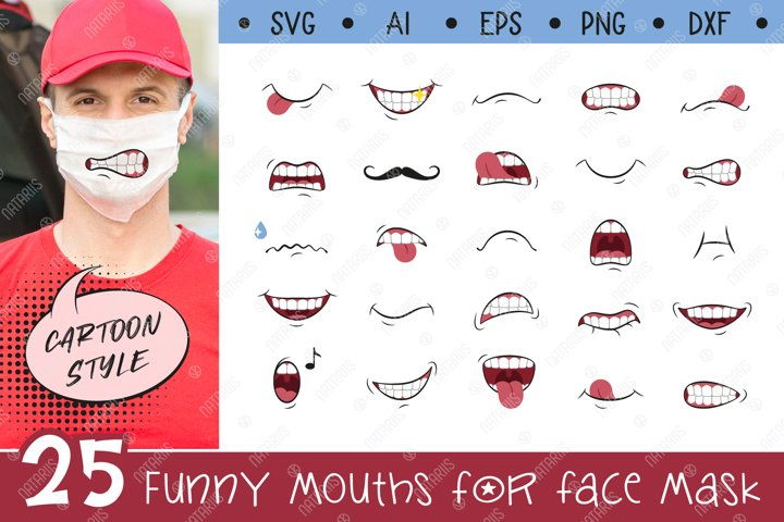 SVG Bundle. 25 Funny mouths for Medical Face Mask.
