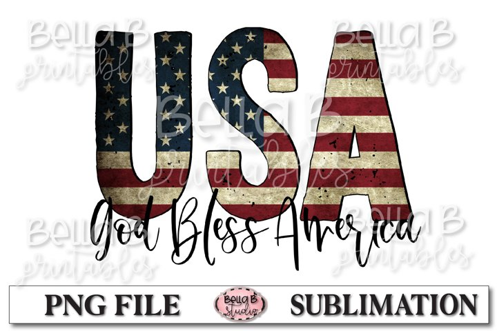 God Bless America Sublimation Design