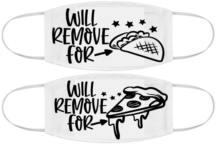 Face mask design SVG DXF JPEG Silhouette Cricut pizza tacos