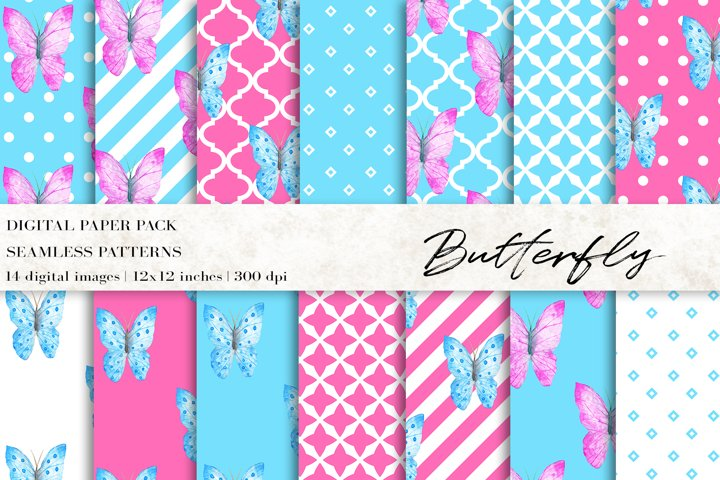 Watercolor Butterfly Digital Papers