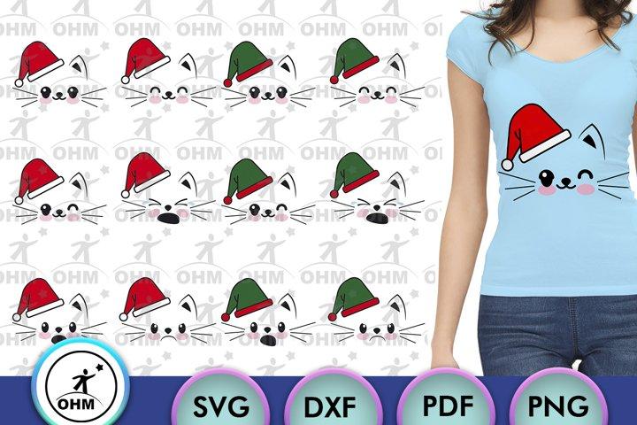 Christmas Cat Expression Bundle, Cricut Maker, Silhouette,