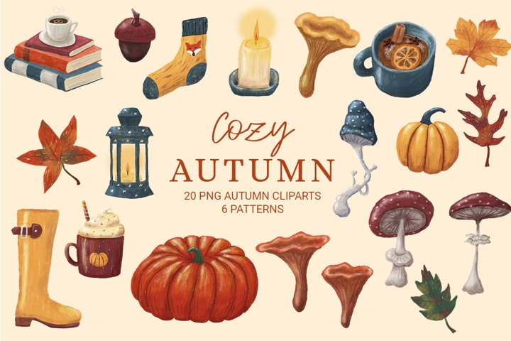 Cozy autumn cliparts, fall set, png