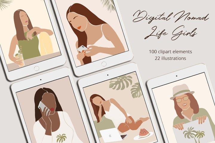 Digital Nomad Life Girls Illustration Set