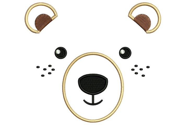 Bear Face machine embroidery designs