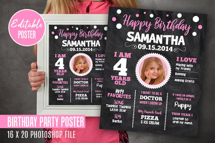 Birthday Chalkboard Party Sign Poster for Child or Baby, PSD