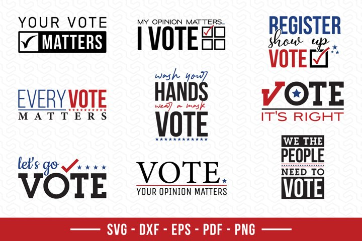 Vote SVG Bundle, 9 Election Quotes SVG Cut Files
