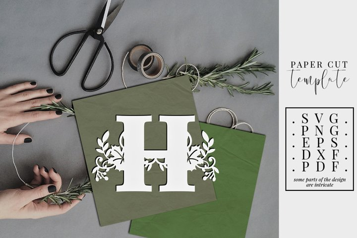 Autumn letter H, single initial paper cut template, fall SVG