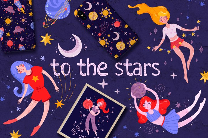 To the stars. Clipart, girls in space