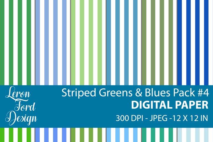 Striped Blues & Greens Pack #4 Digital Paper